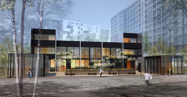 paris maisons de ville rue riquet archiclub agence d 39 architecturearchiclub agence d. Black Bedroom Furniture Sets. Home Design Ideas